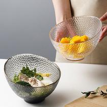 LIVETAI Nordic Creative Half Moon Salad Bowl Home Heat-resistant Glass Bowl Personality Light Luxury Fruit Snack Big Bowl