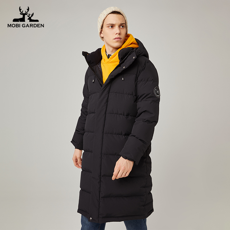 Pastoral flute winter thick duck down mens outdoor warm and windproof mens long black down jacket mens winter hood