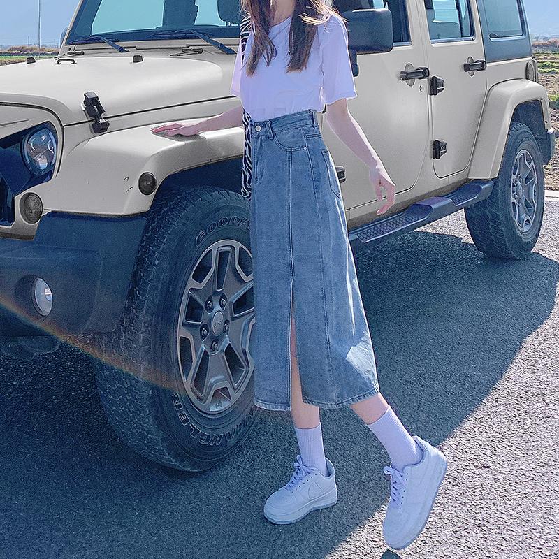 Split skirt womens summer thin high waist spring and autumn 2021 new small a-word medium-length denim skirt long skirt