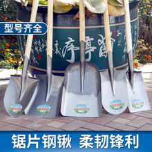 All steel thickening shovel, manganese steel shovel, agricultural digging, flower tip, flat head spade, outdoor shovel garden tools.