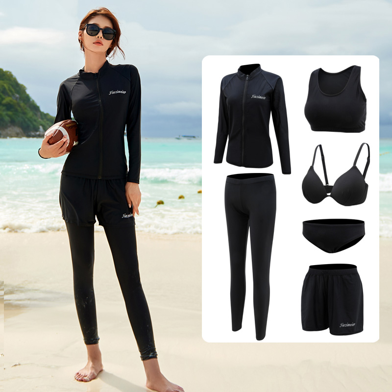 Couple wetsuit womens long-sleeved split trousers Sunscreen fast dry surf set snorkel suit mens jellyfish swimsuit