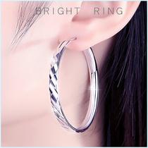 Sterling silver earrings womens 2021 new fashion big ear ring high sense Korean temperament round thick ring earrings summer
