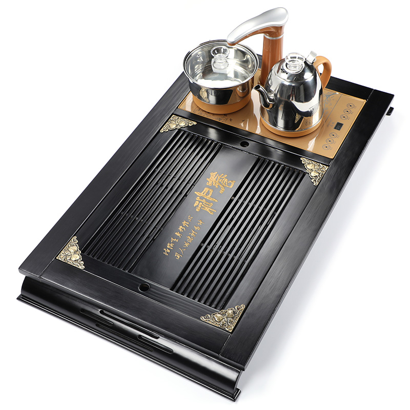 Fully automatic four-in-one family tea plate solid wood kung fu tea table water bamboo tea tray electric thermal magnetic furnace