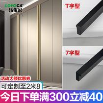A door to the top through the top modern simple black wardrobe door extended handle ultra-long handle gold light luxury