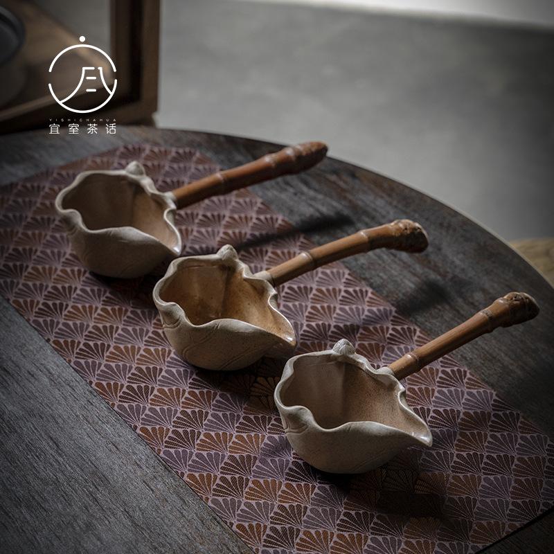 Rough pottery lotus side to the fair cup handmade ancient tea-splitter Kung Fu tea with tea sea-style bamboo handle