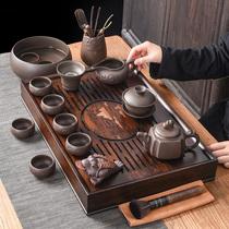 Purple Sand Gongfu Tea set Household living room Walnut drainage type tea tray Tea set Modern simple tea set