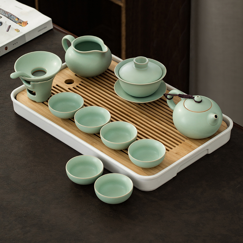 Yu kiln kung fu tea set set of household small set of simple ceramics open the whole set of office with tea high-end gift box
