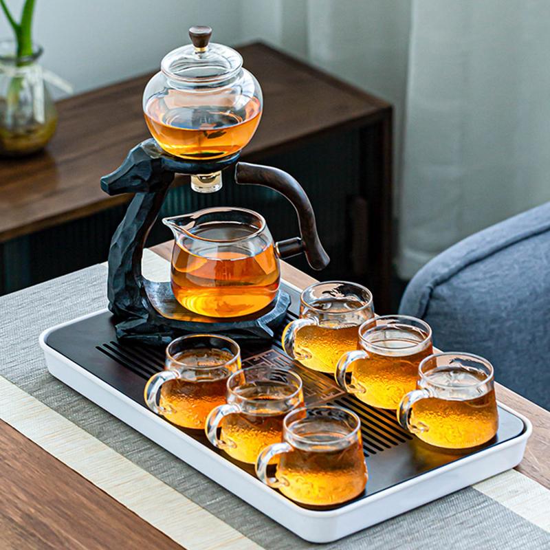 Elk glass automatic tea set family living room kung fu teacourse creative simple lazy teapot tea-making artifacts
