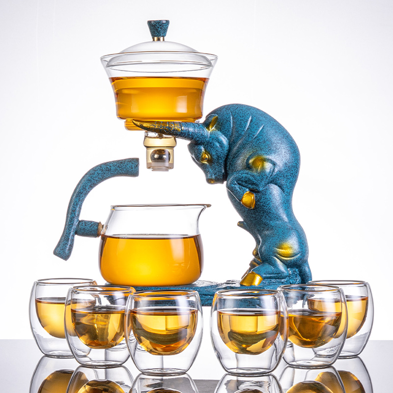 Glass fully automatic tea set home living room office guests luxury high-grade tea cup kung fu tea god