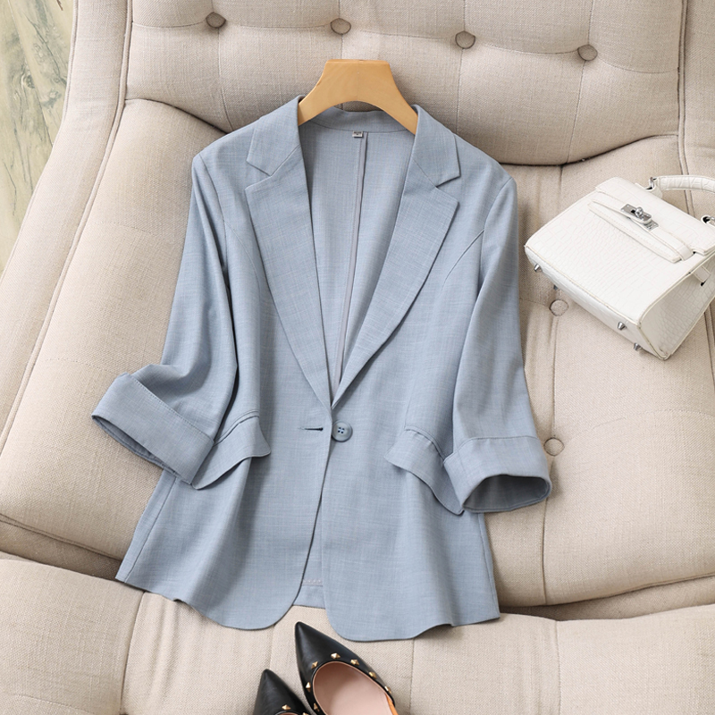 Tencel linen small blazer women thin three-point sleeves spring and summer new Korean style temperament slim suit womens top