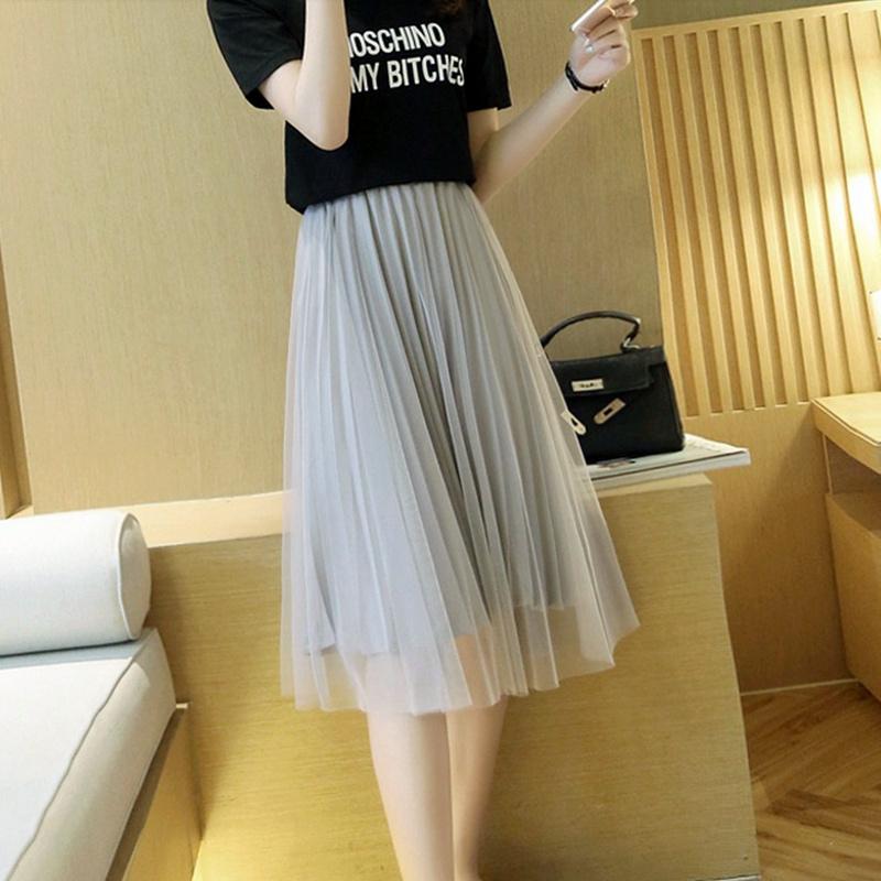 Net red wild mesh skirt womens spring and summer new fairy yarn skirt small medium long high-waisted pleated skirt