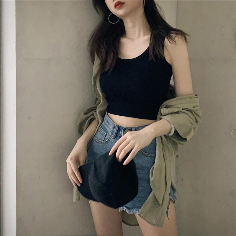 Cotton vest womens summer take a short umbilical sling I-word base wear sleeveless top wear ins tide