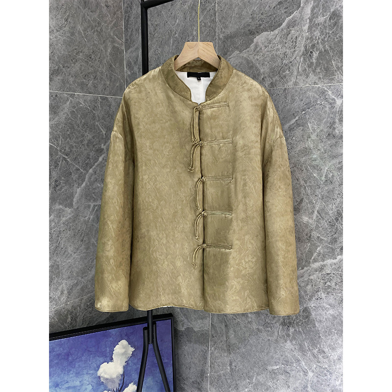 Fashionable Chinese style improved disc buckle top new silk hemp blend Chinese cotton coat woman