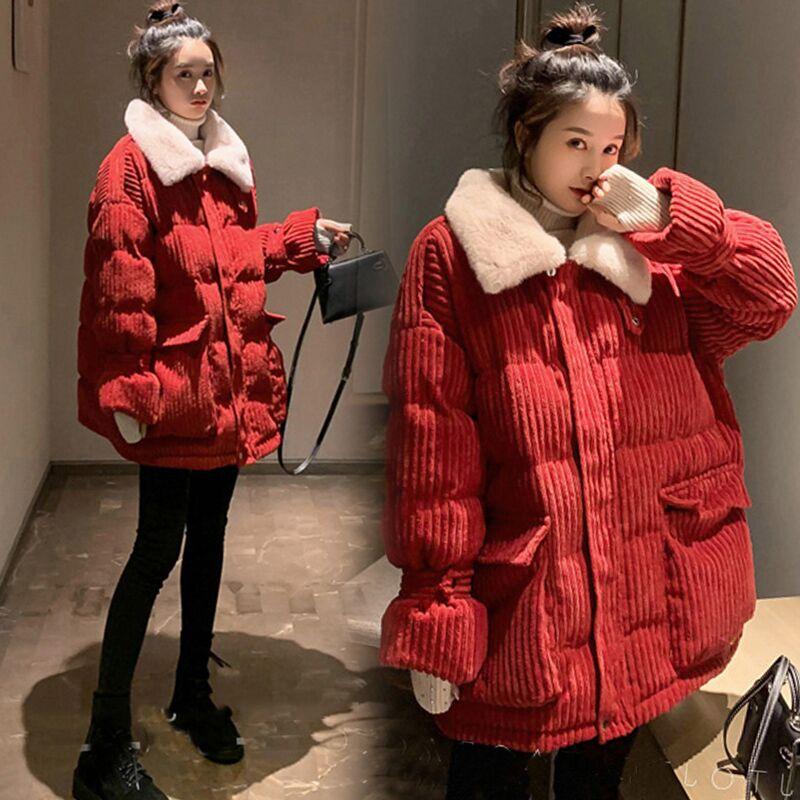 Pregnant women cotton clothing Korean version of loose fashion down cotton clothing size winter pregnancy coat outside wearing cotton coat coat coat