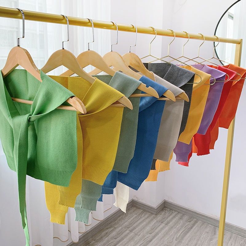 Knitwear girl knotted shawl jacket shoulder air-conditioned room Korean version of the short shoulder off autumn and winter shawl small cape