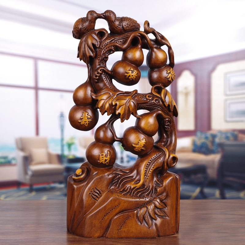 Wufu gourd set piece solid wood carving home living room Xuanguan Cai Qiao moved to a new home Wufu Linmen congratulatory gift