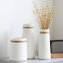 花瓶陶瓷客厅插花北欧创意简约现代干燥花装饰摆饰餐桌白色水培花器