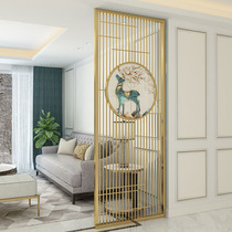 Stainless steel screen partition titanium alloy Nordic home hollow carving hotel modern light luxury metal new Chinese Xuanguan