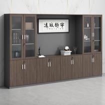Wooden file cabinet Information cabinet Boss bookcase Board file storage storage cabinet Office background file cabinet