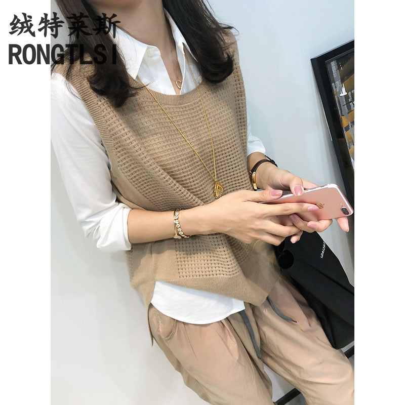 Spring and autumn new wool knitted hollow vest women loose lazy wind sweater waistband outside the wear cashmere horse clip vest