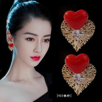 Stars with the same 925 sterling silver earrings in 2021 new fashion love high-end light luxury earrings with a sense of niche design
