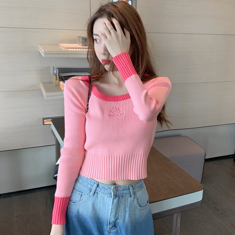Early autumn winter 2020 new foreign-style thin sweater knitted bottoms with short long-sleeved tops