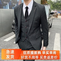 Suit mens suit groom wedding dress mens business stripes are dressed handsome Chao Han version of the slim suit jacket