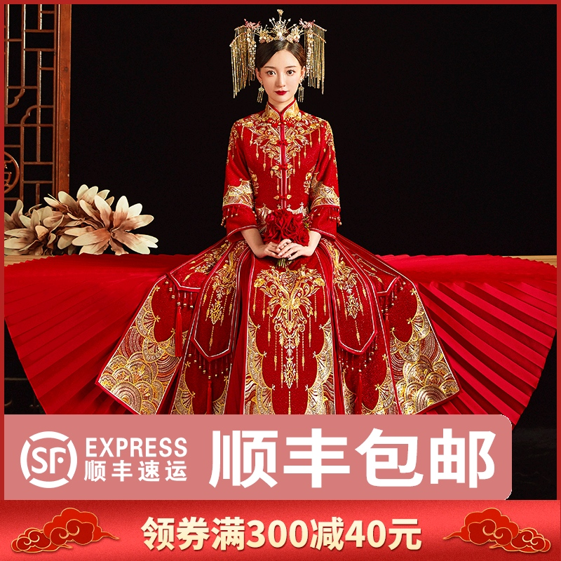 Show clothes 2021 new bride and daughter wedding Chinese wedding dress toast dress small summer big size wedding dress