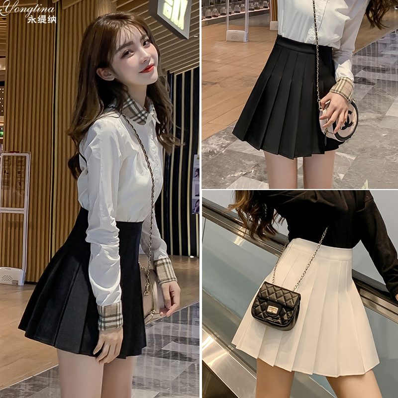 Small tall waist pleated skirt women skirt spring and autumn anti-walking light black high a-word skirt college skirt semi-skirt tide