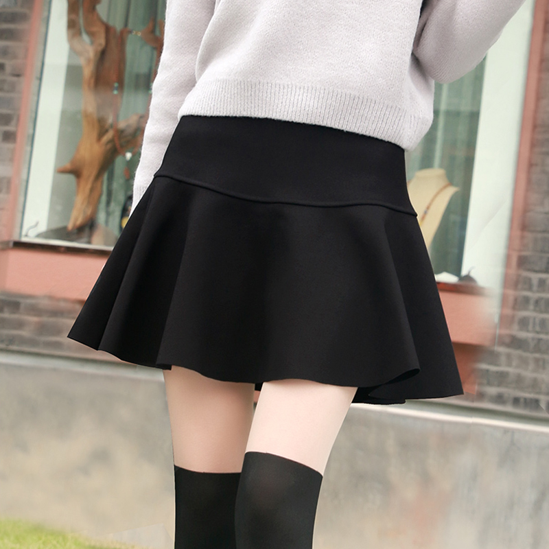 Pleated skirt short skirt female autumn and winter high waist a-line college style half-length skirt pants fairy skirt student puff skirt small umbrella skirt