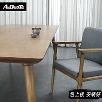 Simple solid wood tea table Boss Zen tea drinking table Office long tea table Log leisure tea table and chair combination