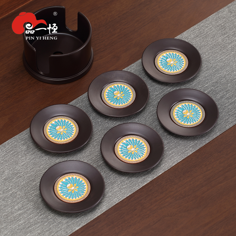 Product a solid wood cup 託 Jingtai blue 瑯 cup mat household tea set electric wood round cup mat insolute tea ceremony accessories