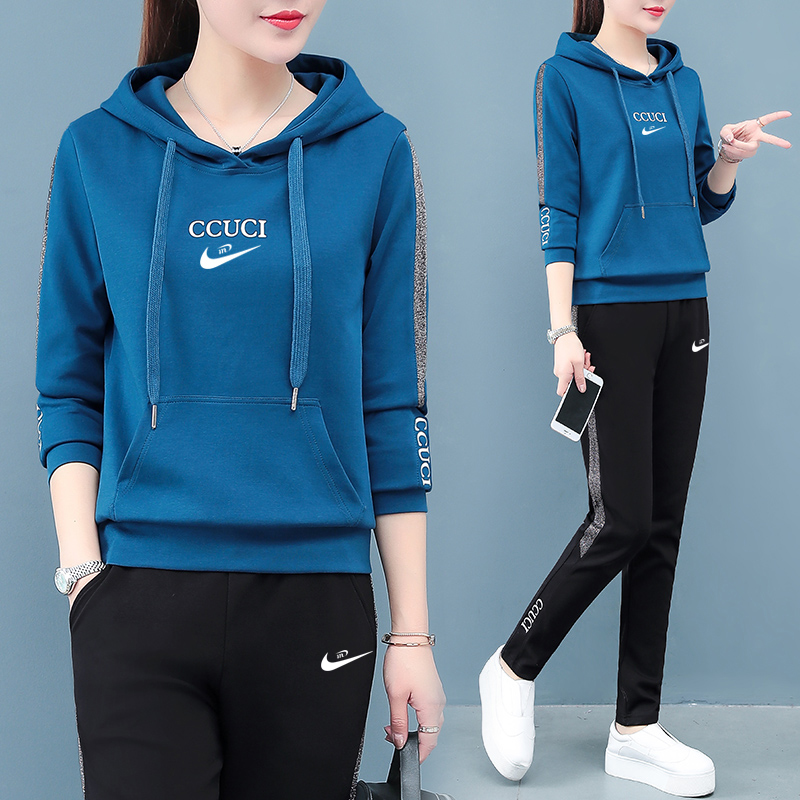 Official website Official flagship store casual sportswear suit womens spring and autumn 2021 new long-sleeved two-piece set
