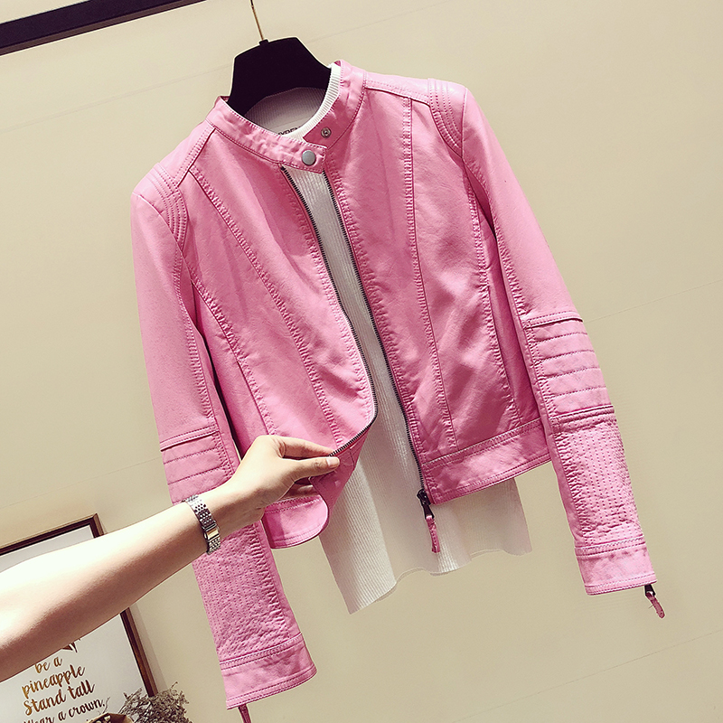 Pink leather leather womens jacket short 2021 spring and autumn new Korean version of the womens motorcycle clothing waist leather jacket