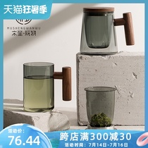 Wood Sheng plaything tea water separation tea cup Colored glass mens simple Japanese water cup net safflower tea cup