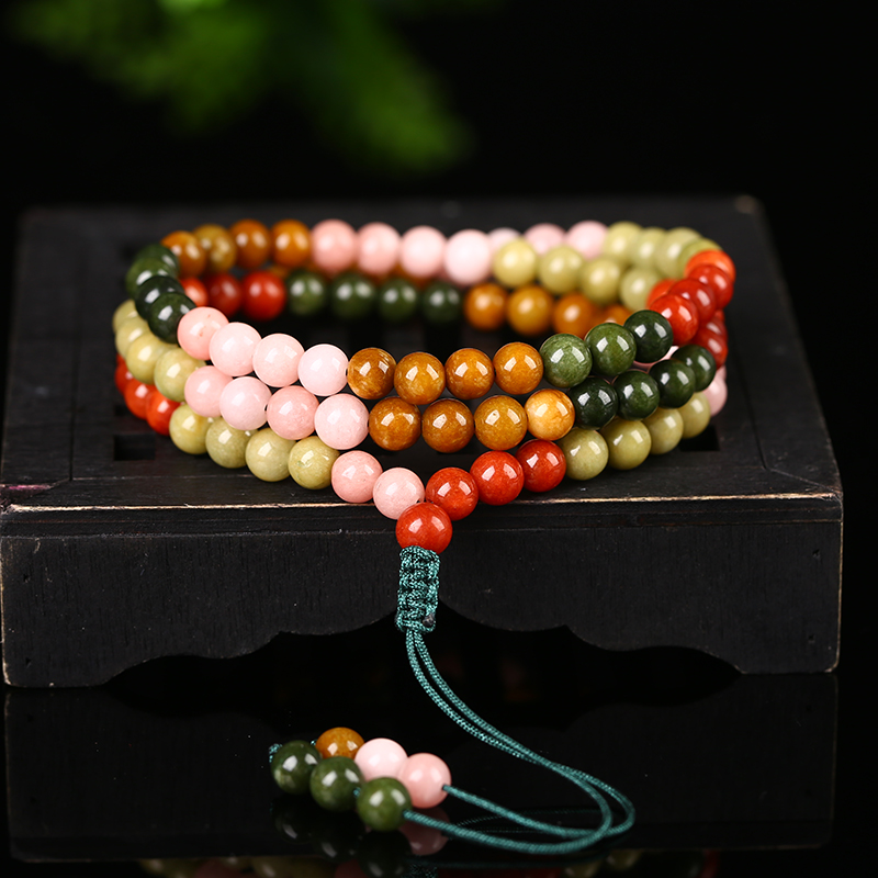 Snow early class crystal picks up the leak tourmaline shuzhu garnet and Tianyu jade jewelry to play hand錬 necklace