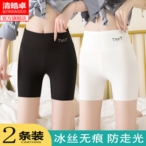 Ice silk safety pants Womens summer thin section wear anti-light incognito high waist belly large size leggings without crimping jk