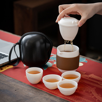 Sub fat jade porcelain white porcelain crack cup a pot of 4 cups portable 2 cups travel tea set small set for office use