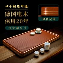 High-end German Bakelite tea tray household 2021 New Chinese light luxury modern yellow single simple solid wood whole Bakelite