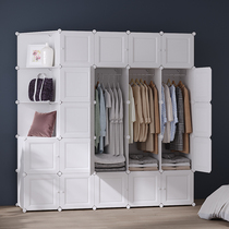 Wardrobe rental easy assembly plastic bedroom push-pull door economy storage cloth wardrobe storage cabinet storage cabinet.