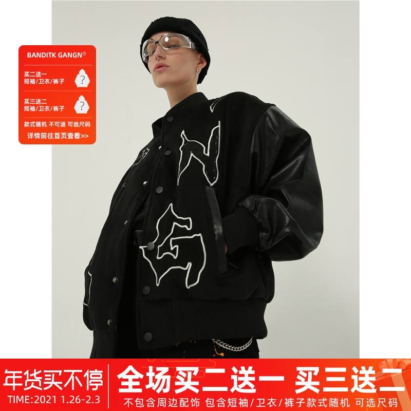 BANDITK GANGN embroidered hot drill baseball shirt hair stitched pupi national tide brand mens and womens Vibe wind coat