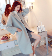 2017 autumn and winter in the long section of the Korean version of the new knee loose thick woolen coat female cocoon wool coat was thin