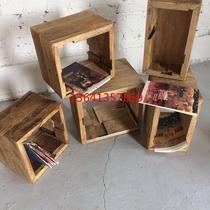 Old elm square grid bookshelf free combination of solid wood retro desktop small storage lockers display simple storage