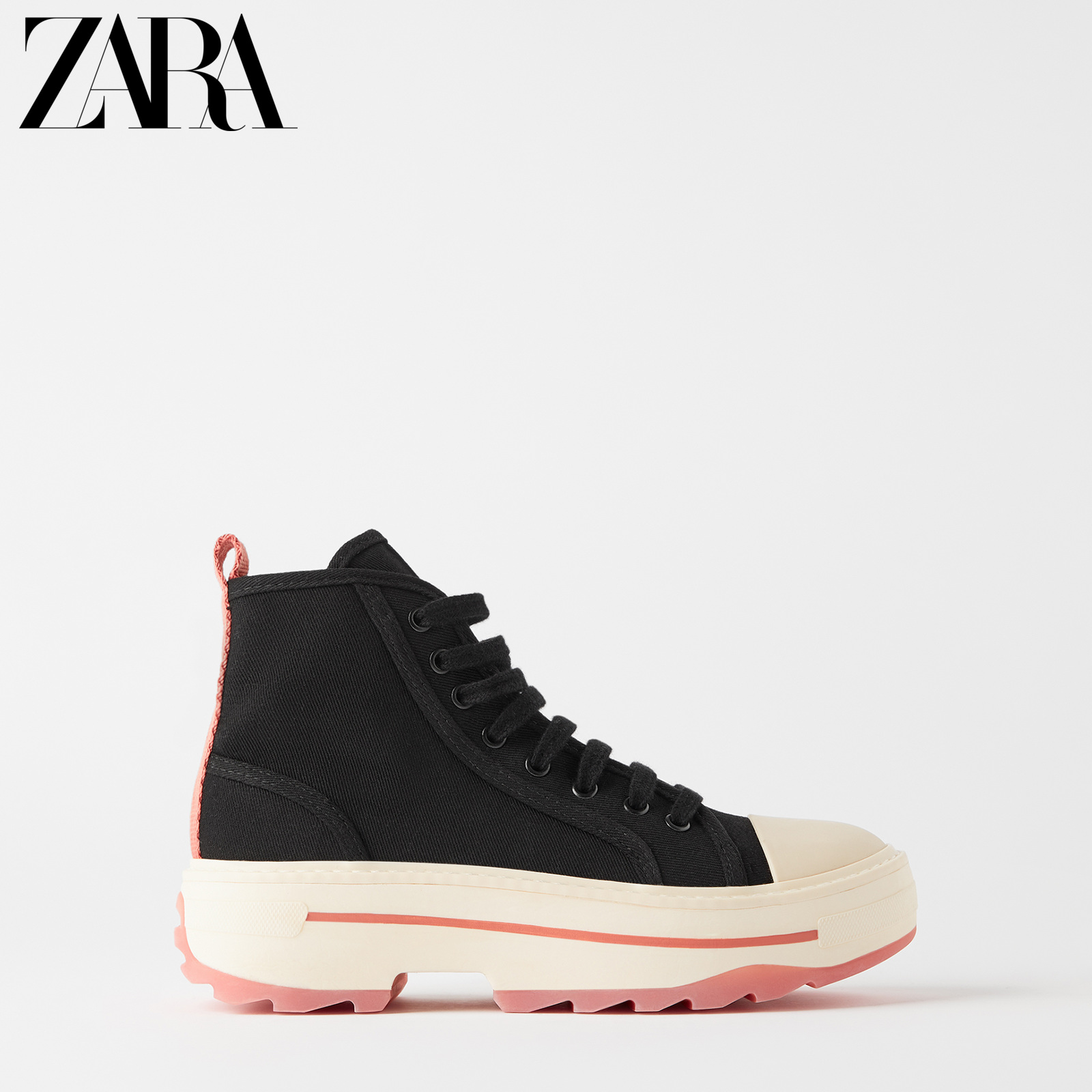 Zara new women's shoes black thick bottom lace up short boots 13403510040