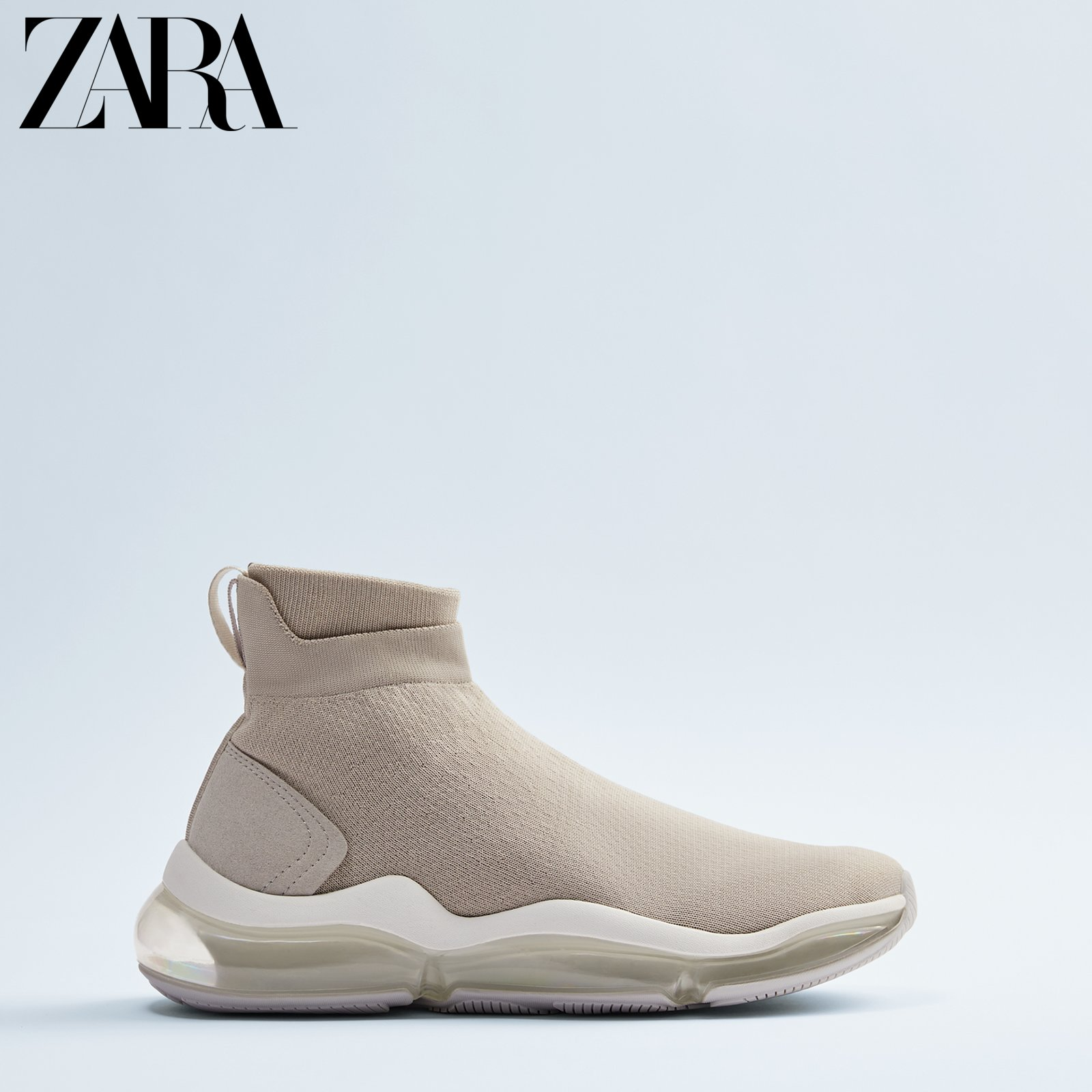 Zara new men's shoes grey white high thickness sole socks sneaker 12120520120