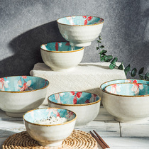 Bowl a single household rice bowl Nordic porcelain bowl noodle bowl Japanese-style tableware fresh ceramic small dishes set creative personality