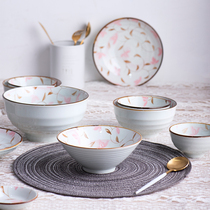 Bowl cute girl heart home a single rice bowl plate Japanese cutlery bowl set small fresh Nordic soup noodle bowl