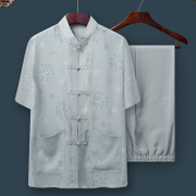 The elderly male costume cotton short sleeved summer suit 60-70-80 years old dad grandpa summer clothes