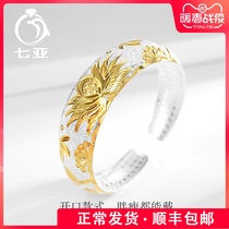 Lotus heart through the silver bracelet female ancient send mom paragraph 999 foot silver bracelet middle-aged elders jewelry gift