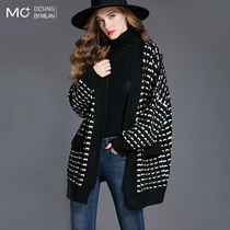Loose thin long sweater jacket womens autumn and winter 2021 new thickened lazy wind knitted cardigan outside wear